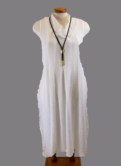 Paolo Tricot long crinkle dress in white