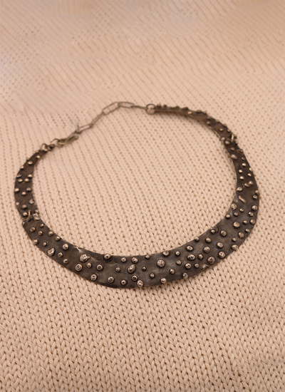 Joy Annett Silver Studded Cuff Necklace