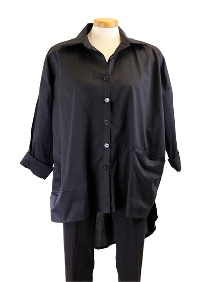 Paolo Tricot Dress Shirt In Black And White