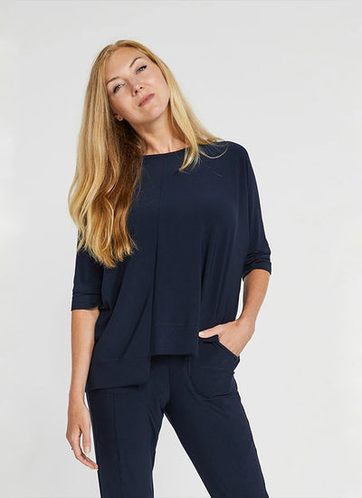 Sympli Motion Trim Boxy Top in navy