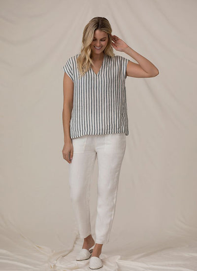 Sympli Deep V Linen Top in blue stripe