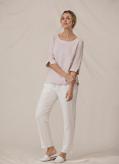 Sympli Wide Sleeve Linen Top in blush