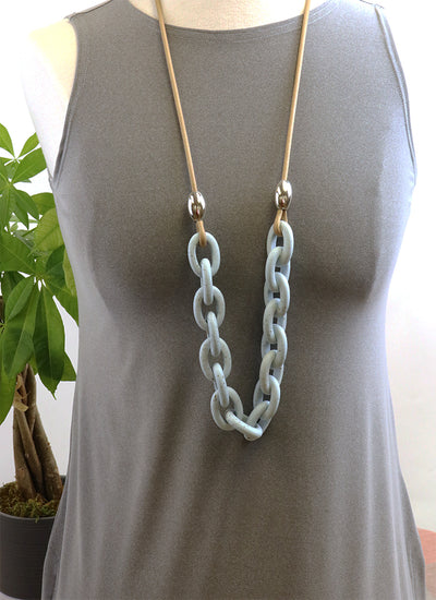 Two A Long Powder Blue Resin Link Necklace