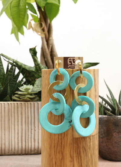 Two A Looped Resin and Metal Earrings in turquoise
