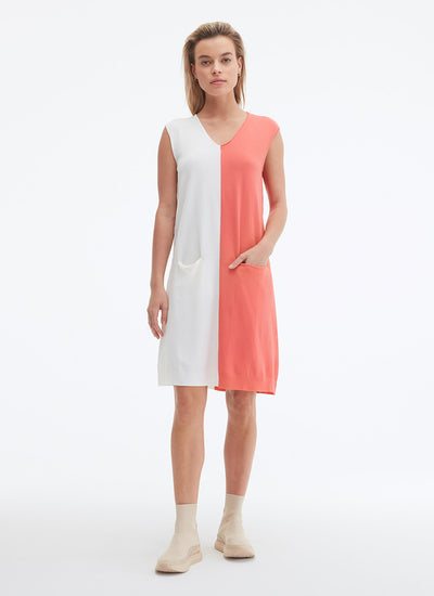 UCHUU Colour Block Knit Dress in milk and strawberry