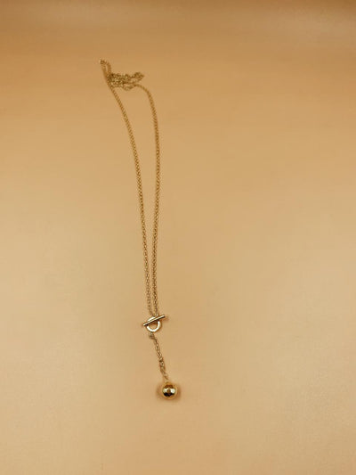 Mini Y Toggle Drip Brass Necklace