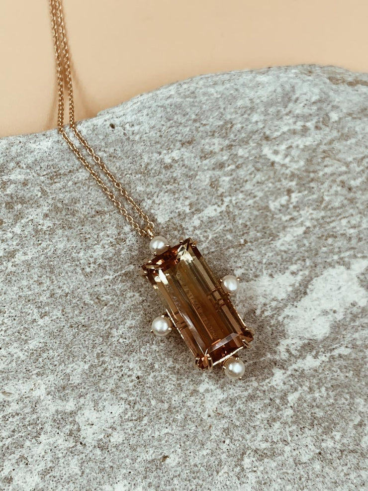 Watermelon Tourmaline Baguette Necklace