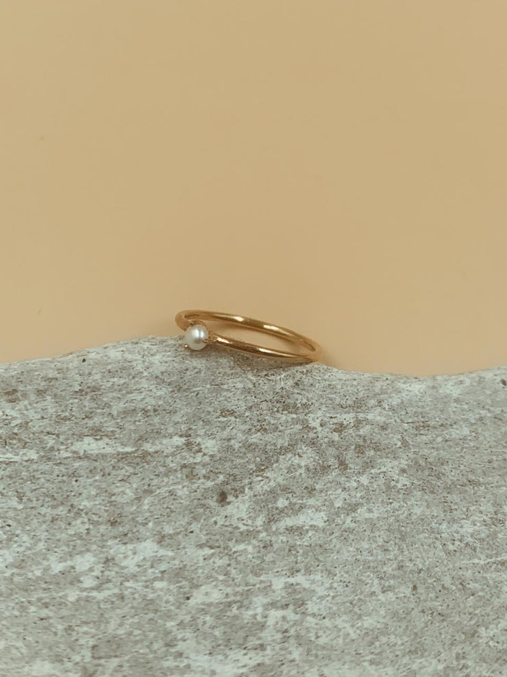 Moondrop Seed Pearl Ring | 18kt Solid Gold