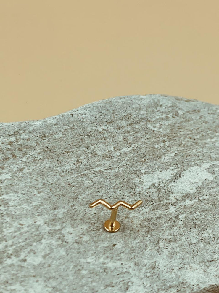 Mie Wave Nose Pin | 18kt Solid Gold