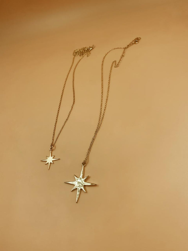 Medium Pointed Star Pendant Brass Necklace