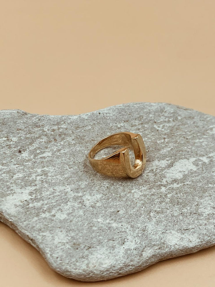 Horseshoe Gold Plated Sterling Silver Signet