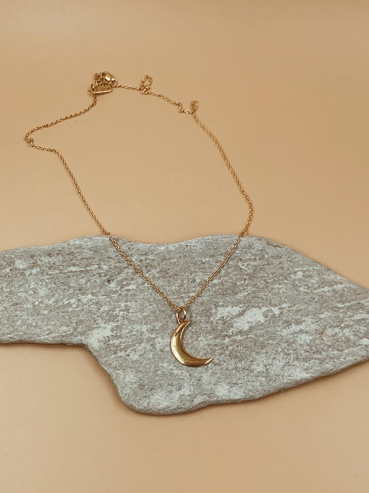 Mama Crescent Moon Brass Necklace