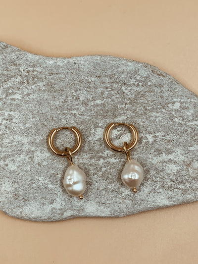 Salma Irregular Baroque Pearl Hoops - Small