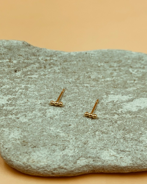Mie Family Gold Plated Sterling Silver Dotted Bar Studs