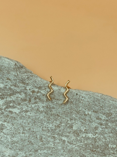 Mie Family Gold Plated Sterling Silver Wave Studs
