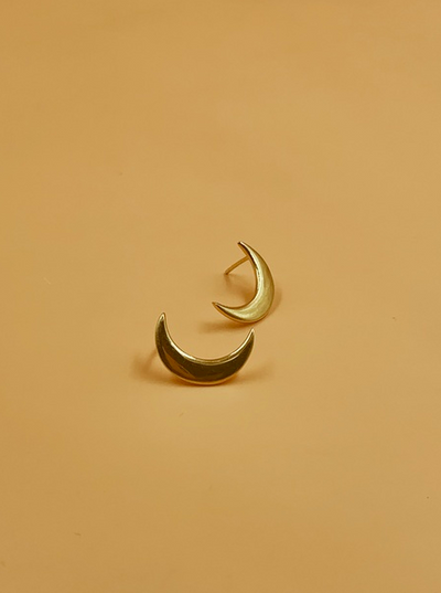 Mama Crescent Moon Stud Earrings | 18kt Solid Gold