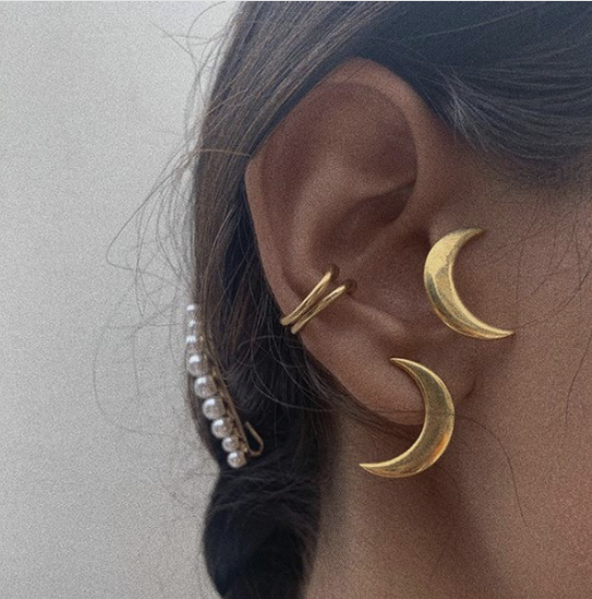 Mama Crescent Moon Stud Earrings