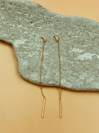 Isa Crescent Threader Chain and Needle Earrings | 18kt Solid Gold