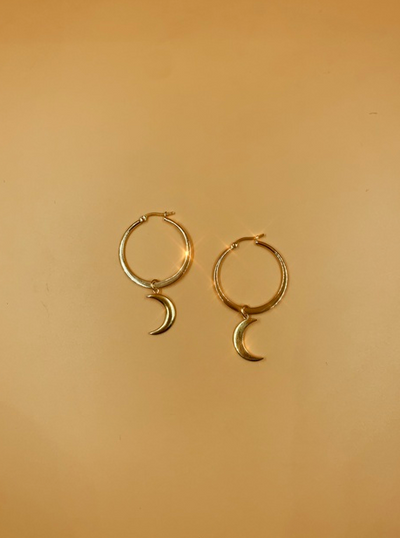 Mama Crescent Hoop Earrings