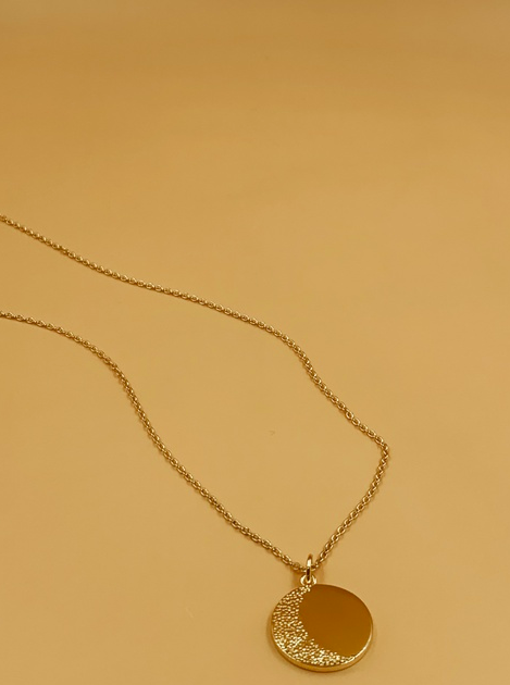 Medium Moon Medallion Necklace  | 18kt Solid Gold