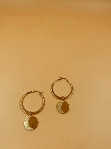 Moon Medallion Hoops