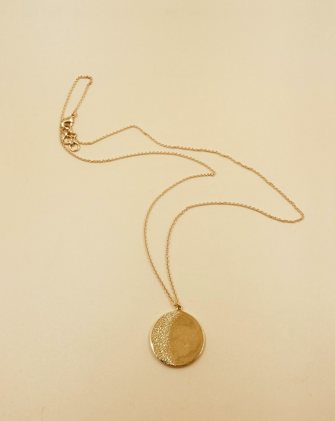 Big Moon Medallion Necklace  | 18kt Solid Gold
