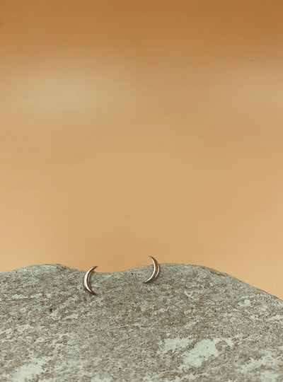 Medium Crescent Moon Silver Tone Sterling Silver Stud Earrings