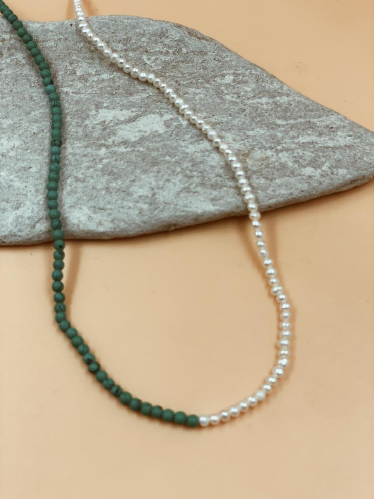 Dual Crescent Pearl + Turquoise Necklace