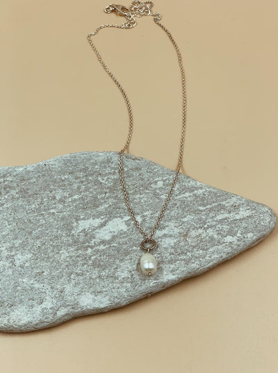 Silver Pearl Egg Necklace