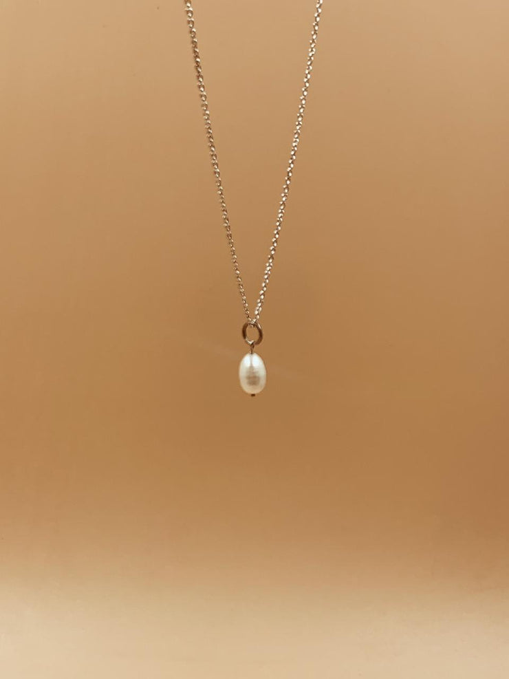 Pearl Egg Sterling Silver Necklace