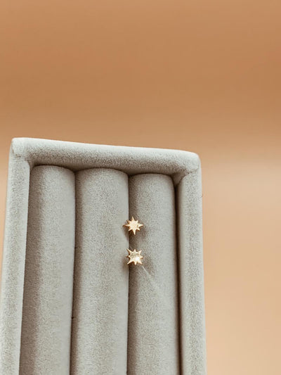 Baby Polaris Gold Plated Sterling Silver North Star Studs