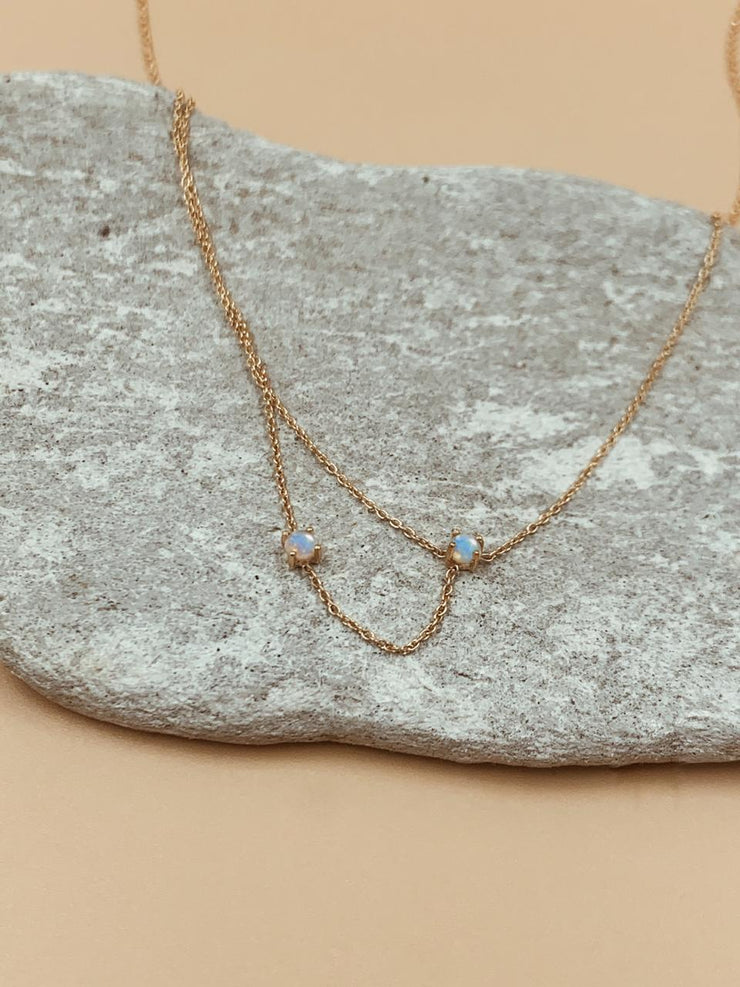 Odxel Opal Sideway Layered Necklace