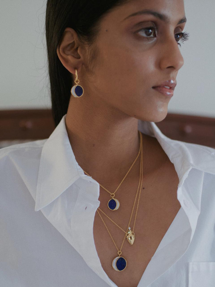 Big Night Of The Blue Moon Necklace | 18kt Solid Gold