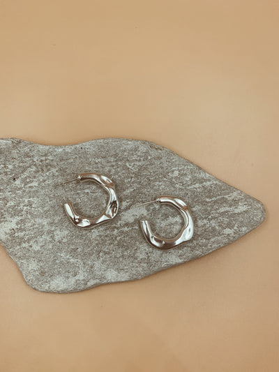 Small Crater Hoops - Silver Tone