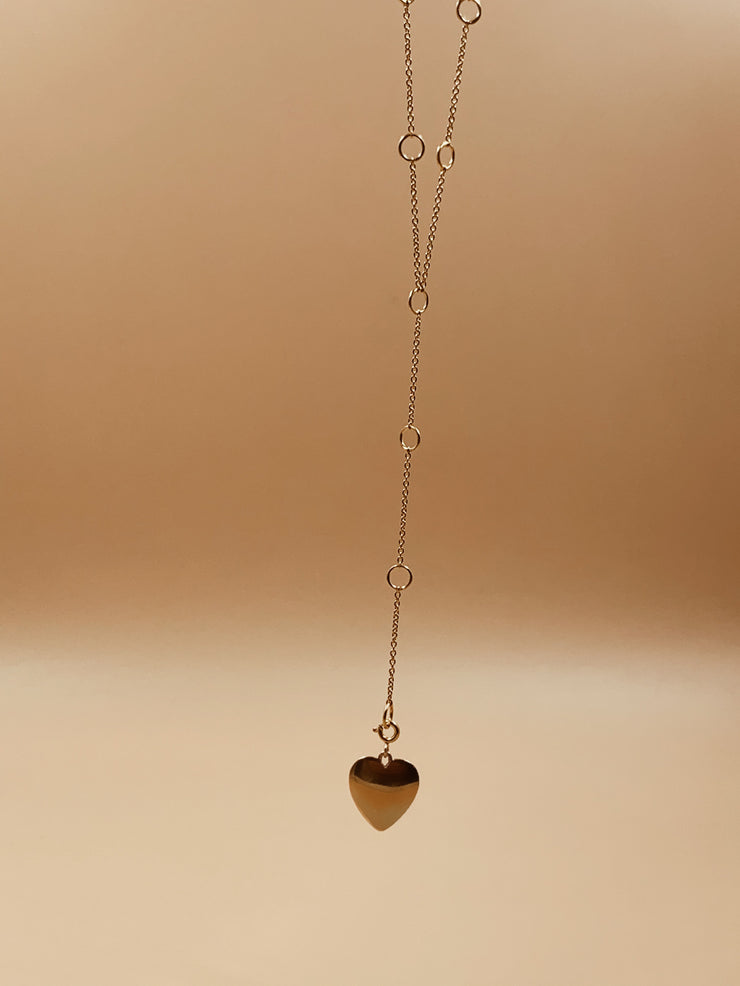Dona Paula Heart Charm Link Lariat Necklace