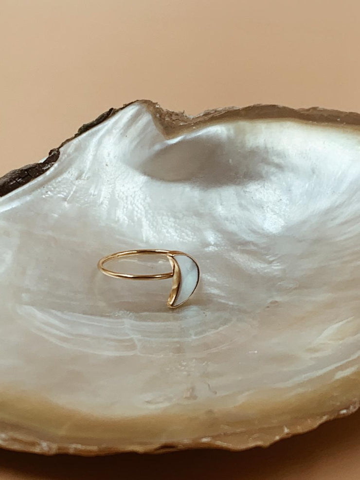 Essential Mother of Pearl Crescent Moon Ring