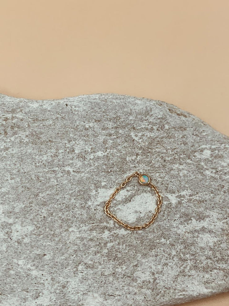 Odxel Opal Chain Ring | 18kt Solid Gold
