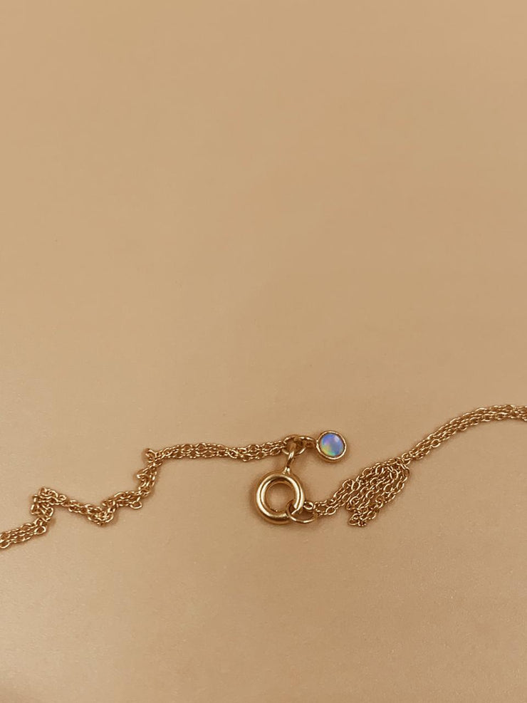 Odxel Opal Bezel Layered Dual Necklace | 18kt Solid Gold