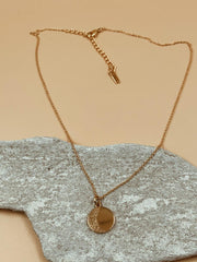 Small Moon Medallion Necklace | 18kt Solid Gold