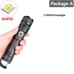 Super Powerful Xlamp XHP70.2 XHP90 LED Flashlight  Lamp Zoom Rechargeable Battery