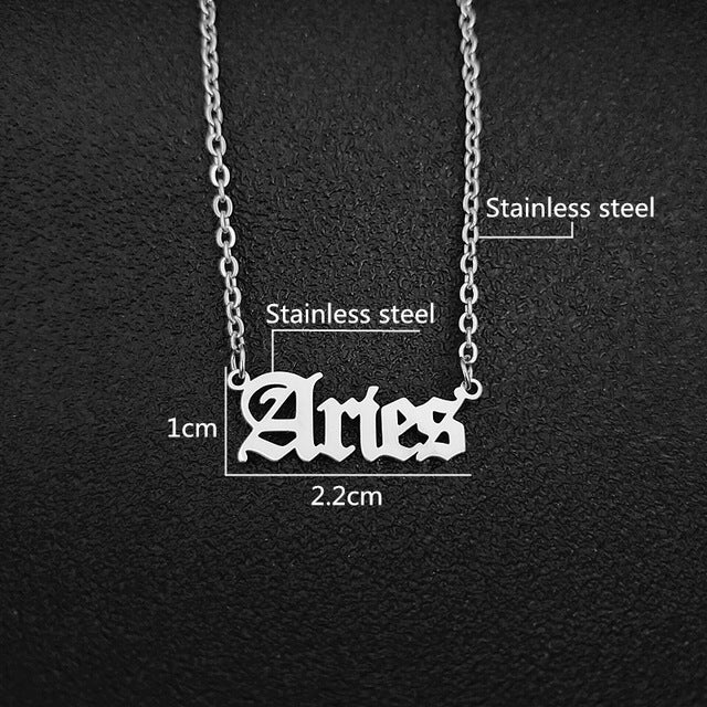 12 Zodiac Letters Pendant Necklace Old English Scorpio Aries Taurus Gemini Cancer Leo Choker Horoscope Signs Necklace Friendship