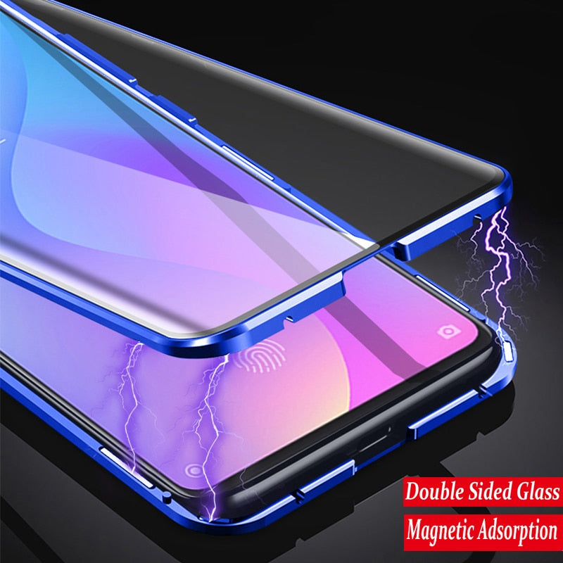 360 Full Protection Magnetic Case For Xiaomi Redmi Note 8 Pro 7 Metal Bumper Double Glass Cover For Mi Note 10 Mi 9 9T 8T funda