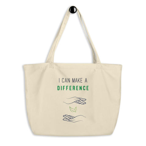 I Can Make A Difference Large Eco-Friendly Organic Tote Bag - Manakin Dance
