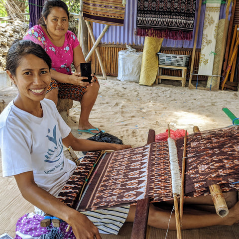 Natural dye ikat textile being made in Nemberala Rote, Indonesia