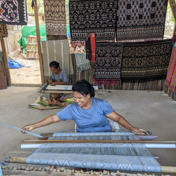 Handloom weaving in Rote Indonesia, natural dyed ikat textiles
