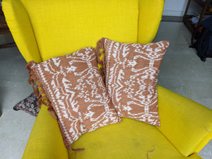Rote Natural Dye Ikat Pillow - Burnt Orange