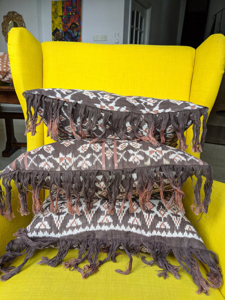 Rote Natural Dye Ikat Pillow Brown