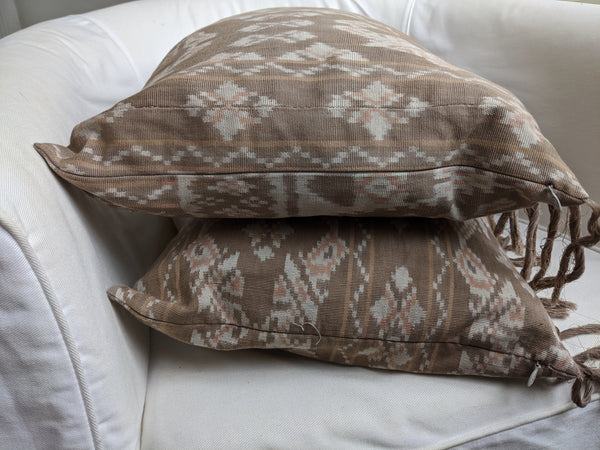 Rote Natural Dye Ikat Pillow - Brown/Pink