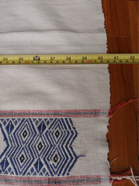 Myanmar Handspun cotton Naga blanket supplemental weft design, natural dyes