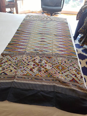 Lao Silk Sinh Weaving. Incredible Color Geometric